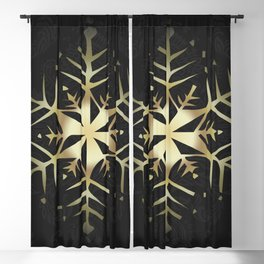 Gold Snowflake Blackout Curtain
