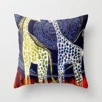 giraffes Throw Pillows featuring Giraffes by Ša Rūnė