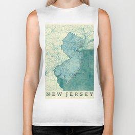 New Jersey State Map Blue Vintage Biker Tank