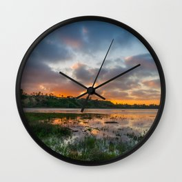 Back Bay High Tide Sunset Wall Clock