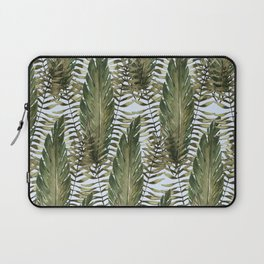 topical leaves in blue background Laptop Sleeve
