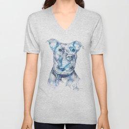 """Hank"" the Rescue Blue Nose Pitbull Staffordshire Terrier Unisex V-Neck"