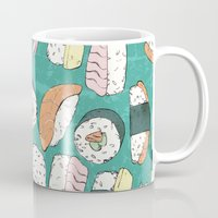 sushi Mugs featuring Sushi by Abi Woodhouse