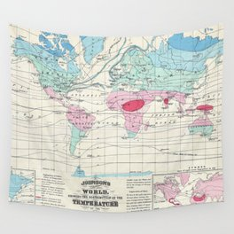 Vintage World Climate Map (1870) Wall Tapestry
