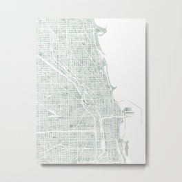 Map Chicago city watercolor map Metal Print