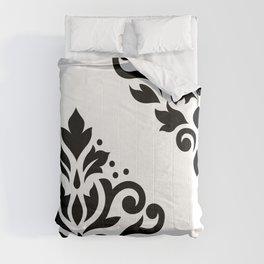 Scroll Damask Art I Black on White Comforters