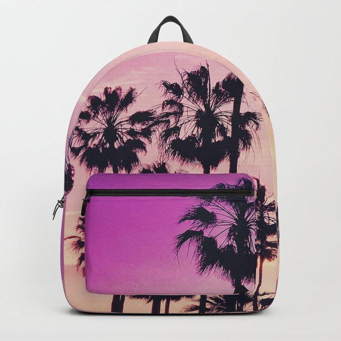 Sunset Palms Purple Tropical Sky Backpack