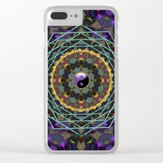 Purple Yin Yang Sacred Geometry Fractals Clear iPhone Case