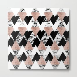 Modern Black White Rose Gold Triangles on Marble Metal Print