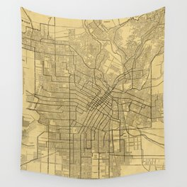 Vintage Map of Los Angeles CA (1914) Wall Tapestry