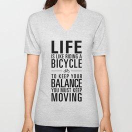 Life is like riding a bicycle. White Background. Unisex V-Neck