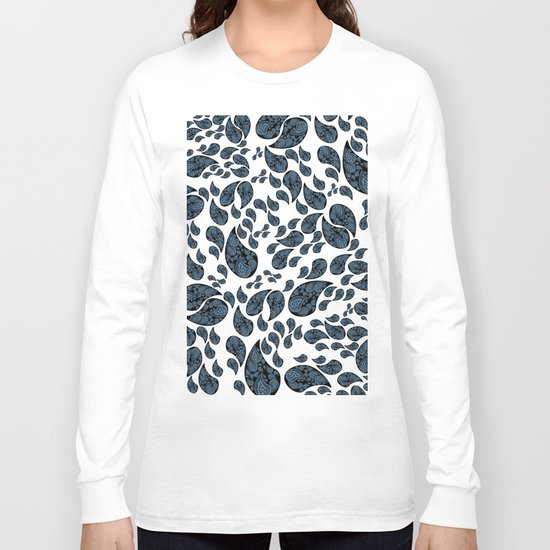 Paisley Turquoise Black And White Long Sleeve T Shirt By
