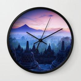 Fog on Temple ||II|| Wall Clock