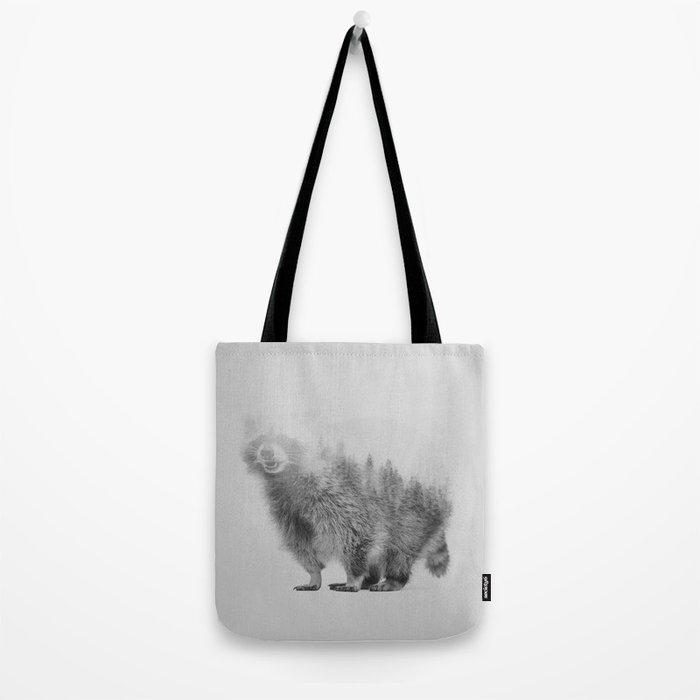 Raccoon (black & white version) Tote Bag