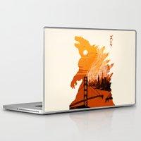 godzilla Laptop & iPad Skins featuring Godzilla  by tim weakland