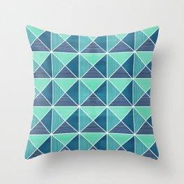 Geo Stud Grid - Blue Throw Pillow