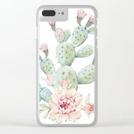 Cactus 3 White #society6 #buyart Clear iPhone Case