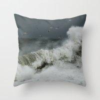 hokusai Throw Pillows featuring hokusai inspired by Damaged Lemons