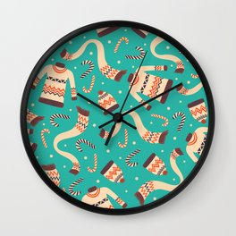 Vintage Christmas Seamless Pattern Wall Clock