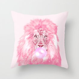 Lion Chewing Bubble Gum in Pink Throw Pillow