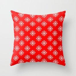 Snowflakes (White & Red Pattern) Throw Pillow