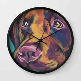 Fun Chocolate Lab Dog bright colorful Pop Art Labrador Wall Clock