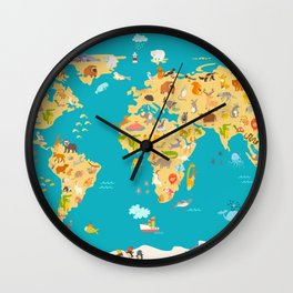 Animal map for kid. World vector poster for children, cute illustrated Wall Clock