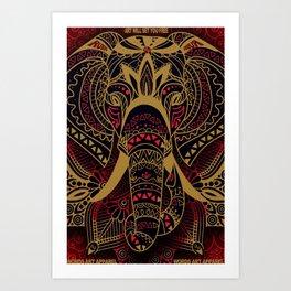 Rubino Zen Elephant Red Art Print