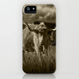 Sepia Tone of Texas Longhorn Steers under a Cloudy Sky iPhone Case