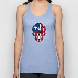 Sugar Skull with Roses and Flag of The United States Unisex Tank Top