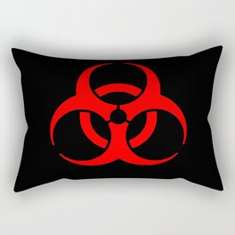 Red Bio Hazard Warning Symbol on Black Rectangular Pillow
