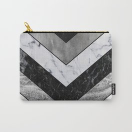 Shimmering mirage - grey marble chevron Carry-All Pouch