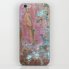 Abstract turquoise flowers on colorful rusty background iPhone Skin