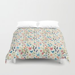 Origami insects and paper cut flowers Duvet Cover