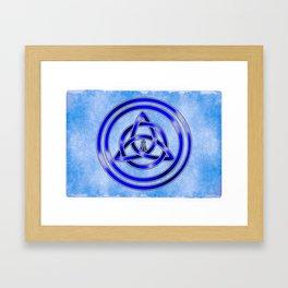 Awen Triqueta - Silver and Blue Framed Art Print