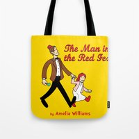 fez Tote Bags featuring The Man In The Red Fez by Devil Chimp