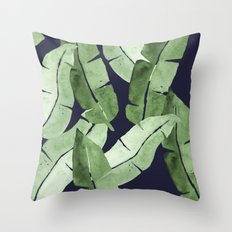 Tropical Leaves 2 Blue Throw Pillow