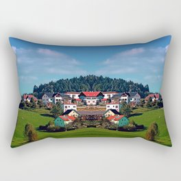 Rural hillside village panorama | landscape photography Rectangular Pillow