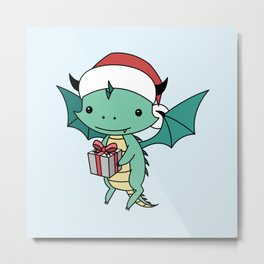 Christmas dragon Metal Print