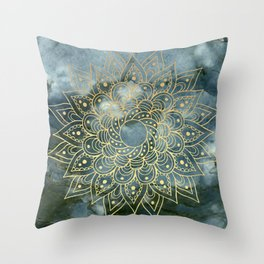 MANDALA ON BLUE MARBLE Throw Pillow
