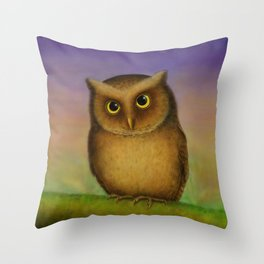 Mountain Scops Owl Throw Pillow