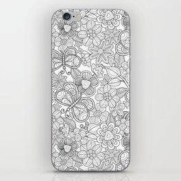 butterfliesd and flowers in black iPhone Skin