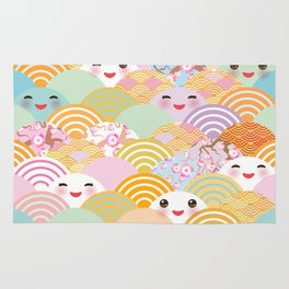 seamless pattern Kawaii with pink cheeks and winking eyes with japanese sakura flower Rug
