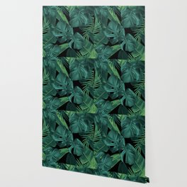 Tropical Summer Night Jungle Leaves Dream #1 #tropical #decor #art #society6 Wallpaper