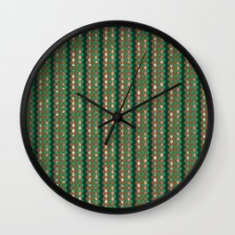 Glitter diamond shape tiles, checker elements print Wall Clock