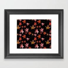Dead Leaves over Black Framed Art Print