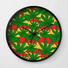 Feeling Sunny Rasta Green  ganja pattern, cannabis leafs, red, green, yellow colors Wall Clock