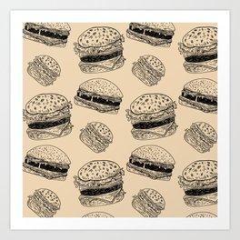 Burger Pattern Art Print