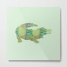 Alligator Crocodile Vintage Floral Pattern Green Teal Mint Blue Metal Print