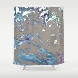 Greige, Gray, Beige, Teal, Navy and Purple Abstract Shower Curtain